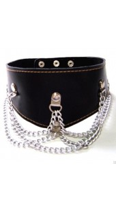 Adjustable Black Leather Collar With Chain Detail.