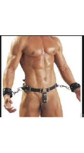 Black Leather Waist Collar With Wrist Restrain's and Penis Ring.