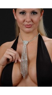 Rhinestone Necktie With Adjustable Chain With Flowing Lower Portion.