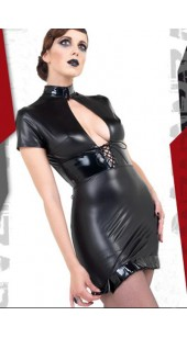 Black Spandex Open Front Short Dress With Lace Up Rear in Two Sizes - Medium and Large.