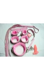 Nine Pc Pink bondage Set With Vibrating Anal Plug