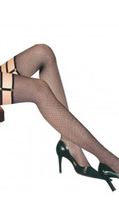 Fishnet Stockings With Stretch Garter Hold Ups.