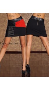 Stretch Faux Leather and Fine Mesh Skirt With Rear Zip.