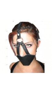 Black Leather Head Gear With Built In Removable Ball Gag.