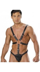 Men's Black Leather Bondage Suit.