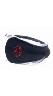 Black C-String With Red Rhinestone Lip's Detail.