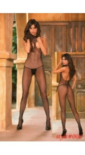 Black Mesh Bodystocking With Open Chest and Crotch.