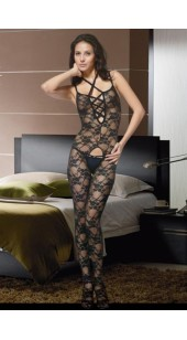 Black Mesh and Lace Pattern Stretch Bodysuit With Strap Shoulder Strap's.