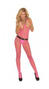 Pink Open Bust Crotch Diamond Net Body Stocking.