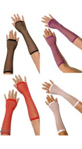 Fishnet Long Gloves In Four Colours-Black-Purple-Red-White.