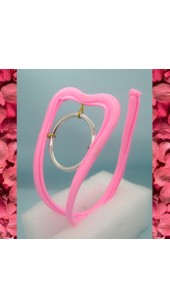 Pink C-String With Open Crotch and Steel Front O Ring.