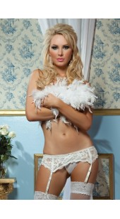 White Lace Adjustable Garter Belt With G-String in Two Sizes.