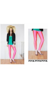 Pink Soft Pleather Leggings In Sizes Medium and Large.