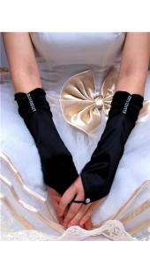 Black Soft Satin Fingerless Long Gloves.