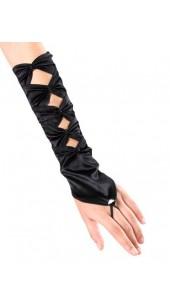 Black Soft Satin Fingerless Long Gloves With Rhinestone Detail.