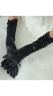 Black Soft Satin Full Finger Long Gloves With Black Rhinestone Detail.