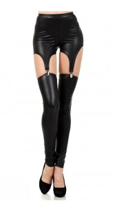 Black Three Pc Stretch Spandex Leggings With Stretch Shorts With Four Garters in One Size.