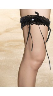 Black Stretch Satin and Lace Black Garter With Rhinestone Detail.