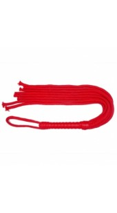 Red Cord Whip With Leather Handle.