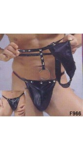 Black Pvc Thong With Stud and Chain Detail