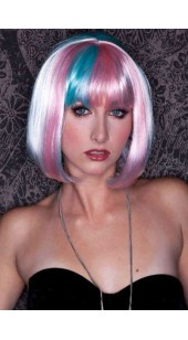 Pink Blue and Blonde Short Length Sexy Wig.