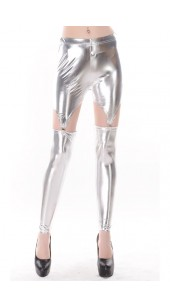 Silver Three Pc Stretch Spandex Leggings With Stretch Shorts With Four Garters in One Size.