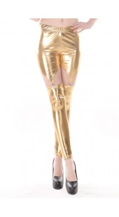 Gold Three Pc Stretch Spandex Leggings With Stretch Shorts With Four Garters in One Size.
