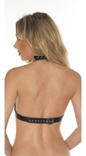 Soft leather Open Cup Bra With Front Linking Chain.
