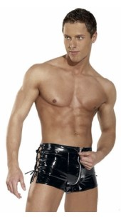 Black PVC Boxers With Front Zip and Side Ties.